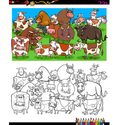 cows and bulls characters coloring book vector image