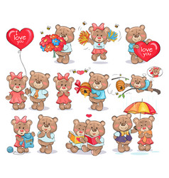 Cute bears couples spend valentines day together vector