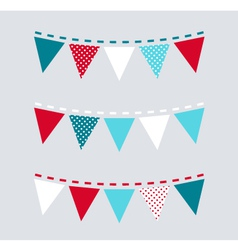 Cute Christmas bunting or flags - red and blue vector image