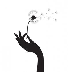 dandelion in a hand vector image