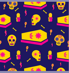 Day of the dead holiday skull seamless pattern vector