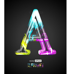 Design Light Effect Alphabet Letter A vector image