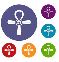 egypt ankh symbol icons set vector image