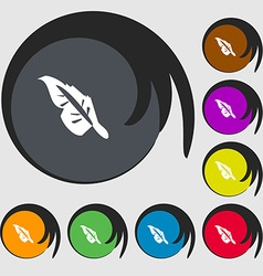 Feather icon sign Symbols on eight colored buttons vector image