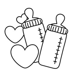 Feeding bottles and hearts black and white vector