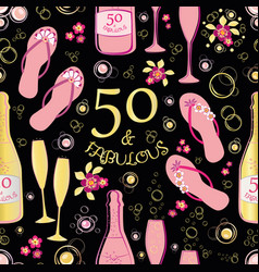 Fifty and fabulous seamless pattern vector