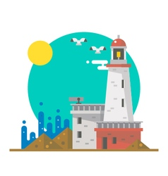 Flat design of lighthouse on a beach vector image