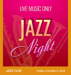 Flyer for jazz night party - template for music vector