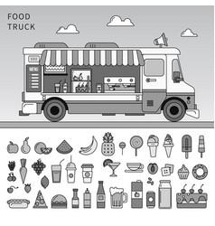 food truck on street line monochrome vector image