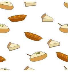 Fresh pastry flat seamless pattern on white vector