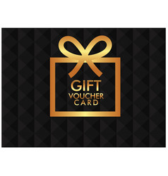 gift voucher card golden gift box black background vector image