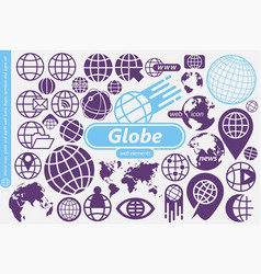 globe world map and earth symbols icons logos vector image