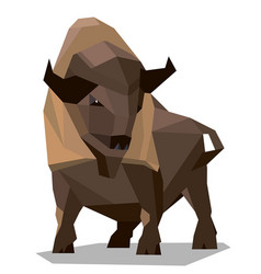 golden brown bison in a geometric style vector image