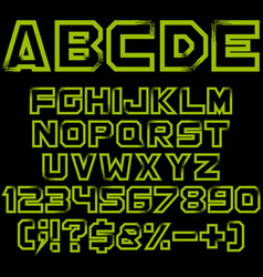 green alphabet numbers and signs vector image