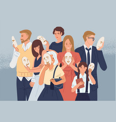 group people covering their faces with masks vector image