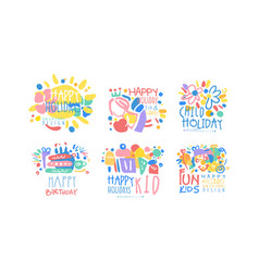 happy child holday fun and game labels design vector image