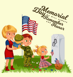 Happy memorial day mother with child on cemetery vector