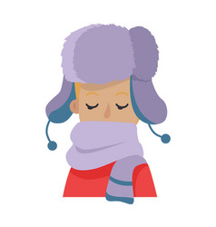 Hat young man hiding his face in violet scarf vector