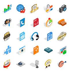 Hi-fi icons set isometric style vector