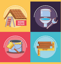 home repair with tools set icons vector image