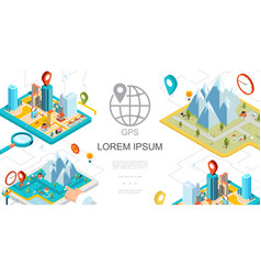 isometric mobile gps navigation composition vector image