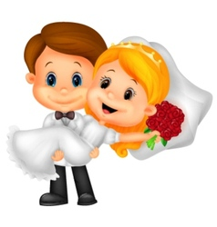 Kids cartoon Playing Bride and Groom vector