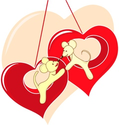 Love card with lovers animals vector image