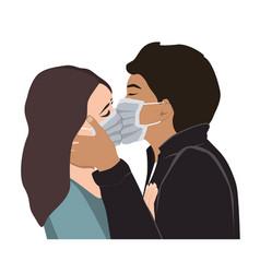 Love on covid quarantine a passionate kiss vector