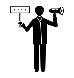 man hand speaker icon simple style vector image