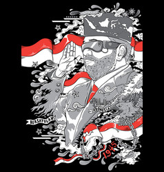 Man with glasses and beard with indonesia flags vector