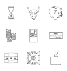Money and finance set icons in outline style Big vector
