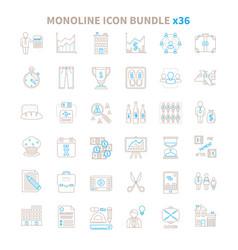 Mono line icon bundle 36 items vector