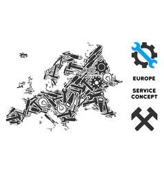 Mosaic europe map of service tools vector