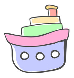 multicolor boat on white background vector image