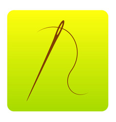 needle with thread sewing needle needle for vector image