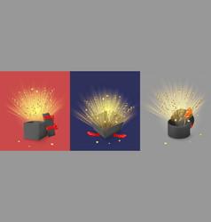 open magic gift boxes with shine confetti vector image