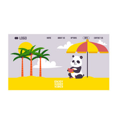 panda lsitting on beach under sun umbrella banner vector image