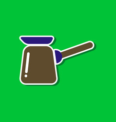 Paper sticker on stylish background coffee turk vector