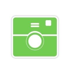 Paper sticker on white background camera vector