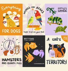 Pets posters and banners set vector