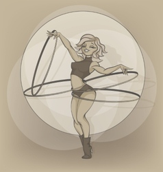 Pinup circus artist silhouette inkpen hooper vector image