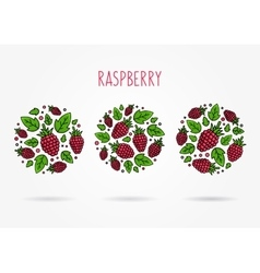 Raspberry round labels creative concept vector image
