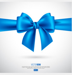 realistic blue bow and ribbon vector image