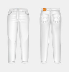 Realistic white casual jeans vector