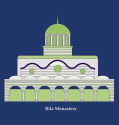 Rila monastery in bulgaria flat cartoon style vector