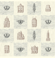 seamless pattern with keyholes and old buildings vector image