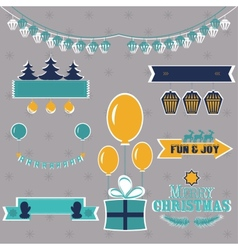 Set of Christmas shapes and labels in retro style vector image