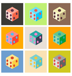 Set of dice flat design isolated dice casino vector