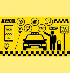 Set taxi car icons on yellow background vector