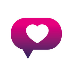 Silhouette heart inside chat bubble text message vector